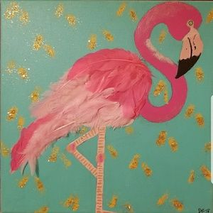 "Orig. 12x12"" Flamingo Painting feat. Real Feathers"